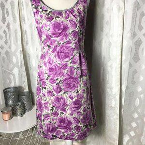 Talbots Women Size 12 Purple Floral Sleeveless Shi